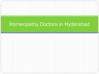 Homeopathy Doctors in Hyderabad