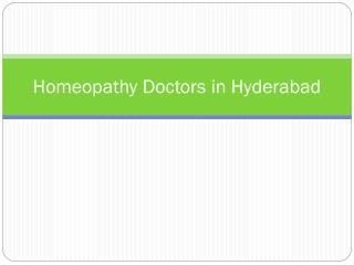 Homeopathy Doctors in Hyderabad