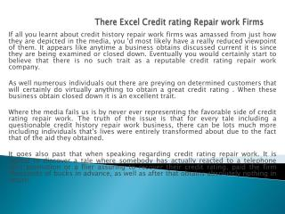 There Excel Credit rating Repair work Firms