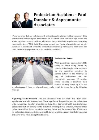Pedestrian Accident - Paul Dansker & Aspromonte Associates
