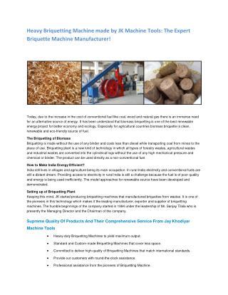 Jay Khodiyar - Briquetting Plant | Biomass Briquetting Plant