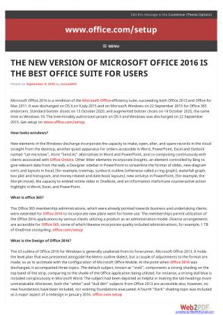 The New Version Of Microsoft Office 2016 Is The Best  Office Suite For Users