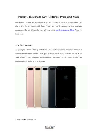 iPhone 7 Released: Key Features, Price and More