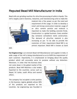 Reputed Bead Mill Manufacturer in India