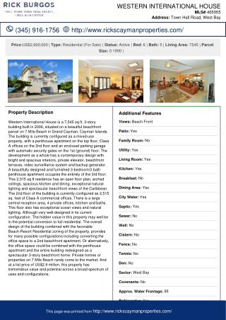 Western International House - Cayman Residential Property For Sale