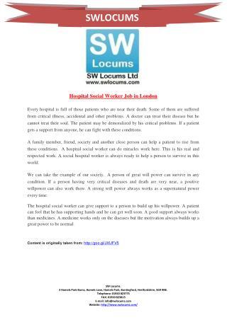 Hospital Social Worker Job in London
