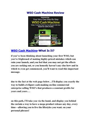 WSO CASH MACHINE REVIEW