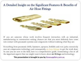 A Detailed Insight on the Significant Features & Benefits of Air Hose Fittings