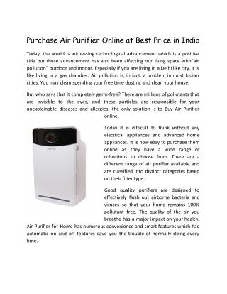 Purchase Air Purifier Online at Best Price in India