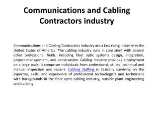 Communications and Cabling Contractors industry