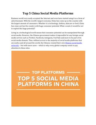 Top 5 China Social Media Platforms