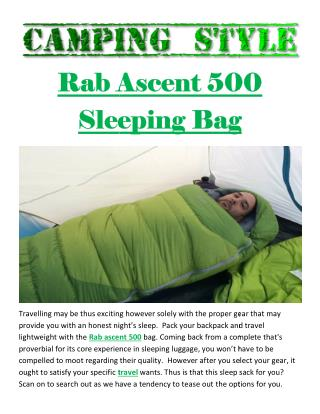 Rab Ascent 500 Sleeping Bag