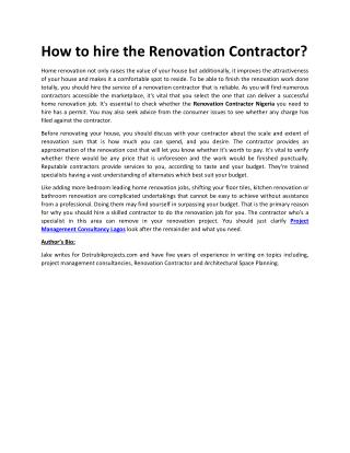 How to hire the Renovation Contractor?