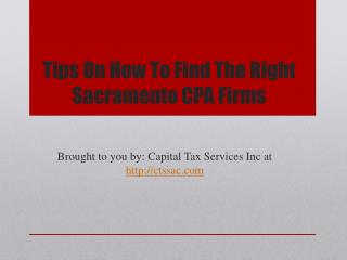 Tips On How To Find The Right Sacramento CPA Firms