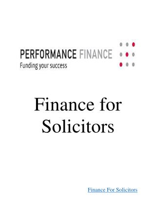 Finance For Solicitors