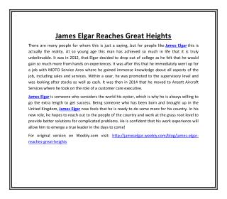 James Elgar Reaches Great Heights