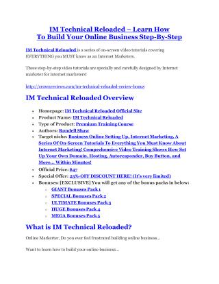 IM Technical Reloaded review - IM Technical Reloaded top notch features