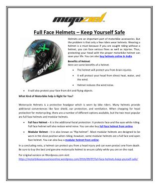 Full Face Helmets � Keep Yourself Safe