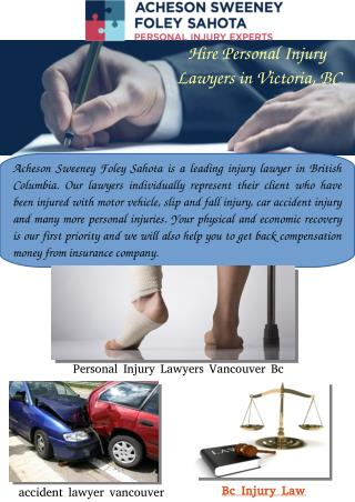 Hire Personal Injury  Lawyers in Victoria, BC