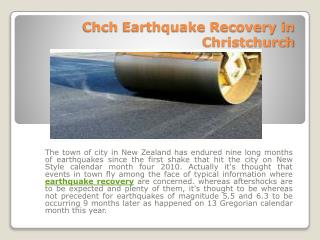 Chch Earthquake Recovery in Christchurch