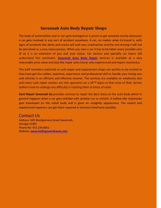 Savannah Auto Body Repair Shops