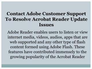 Contact Adobe Customer Support To Resolve Acrobat Reader Update Issues
