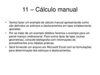 11   C lculo manual
