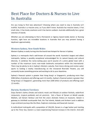 Best Place for Doctors & Nurses to Live In Australia