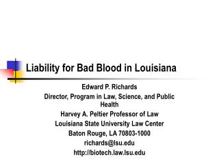Liability for Bad Blood in Louisiana