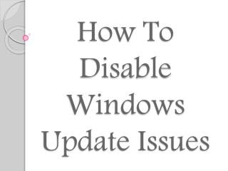 how to disable Window update issues