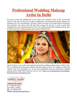 Professional Wedding Makeup Artist In Delhi