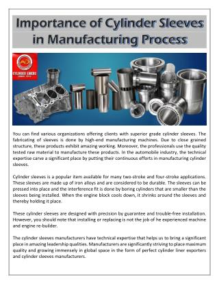 Importance of Cylinder Sleeves in Manufacturing Process