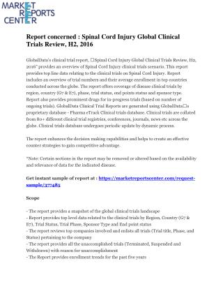Report concerned : Spinal Cord Injury Global Clinical Trials Review, H2, 2016
