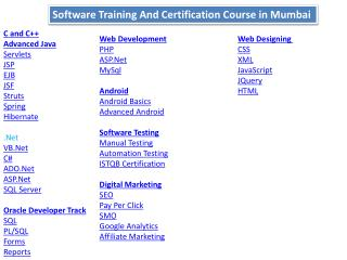 Software Training Institute in Mumbai | Software Courses