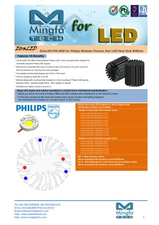 EtraLED-PHI-4850 for Philips Modular Passive Star LED Heat Sink