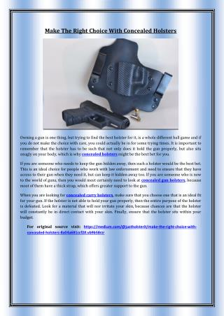 Make The Right Choice With Concealed Holsters