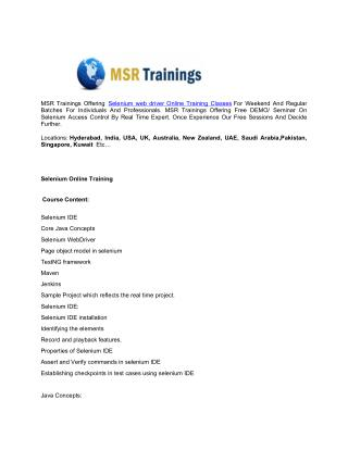Selenium Online Training - MSR Trainings