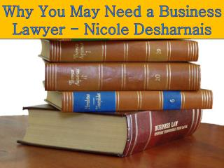 Why You May Need a Business Lawyer - Nicole Desharnais