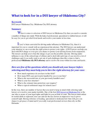 What to look for in a DUI lawyer of Oklahoma City?