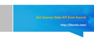 Get Courses Data API from Fourcle