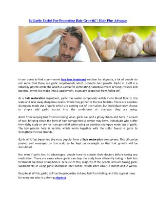 Garlic Benefits for Hair   Hair Plus Advance