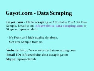 Gayot.com - Data Scraping