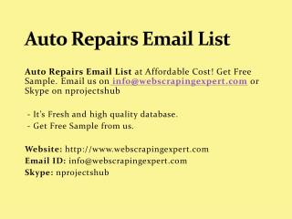 Auto Repairs Email List