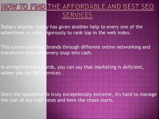 Find The Affordable And Best SEO Services