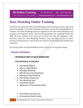 Data Modelling Training & Certification Course Online