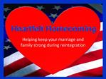 Helping keep your marriage and family strong during reintegration