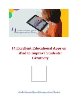 Top Kids Educational Apps on iPad to Improve Students' Creativity!