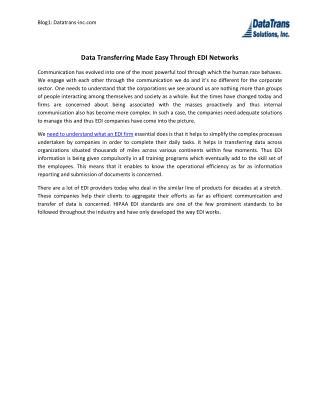 Data Transferring Made Easy Through EDI Networks