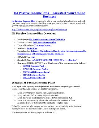 IM Passive Income Plus Review-TRUST about IM Passive Income Plus and 80% discount