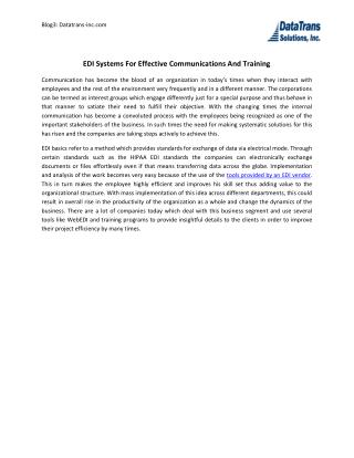 EDI Systems For Effective Communications And Training
